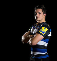 Francois Louw of Bath Rugby poses for a portrait in the 2015/16 home kit during a Bath Rugby photocall on December 1, 2015 at Farleigh House in Bath, England. Photo by: Patrick Khachfe / Onside Images