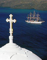Greece; Cyclades; Santorini; Fira (Thira): white dome, cruise ship / clipper anchoring in front of island Nea Kameni