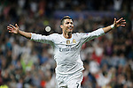 Real Madrid´s Cristiano Ronaldo celebrates a goal during Champions League soccer match between Real Madrid and Shakhtar Donetsk at Santiago Bernabeu stadium in Madrid, Spain. Spetember 15, 2015. (ALTERPHOTOS/Victor Blanco)