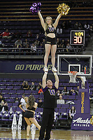 SEATTLE, WA - DECEMBER 18: Washington cheerleader Julia Bautel entertained fans during a timeout against Savannah State.  Washington won 87-36 over Savannah State at Alaska Airlines Arena in Seattle, WA.
