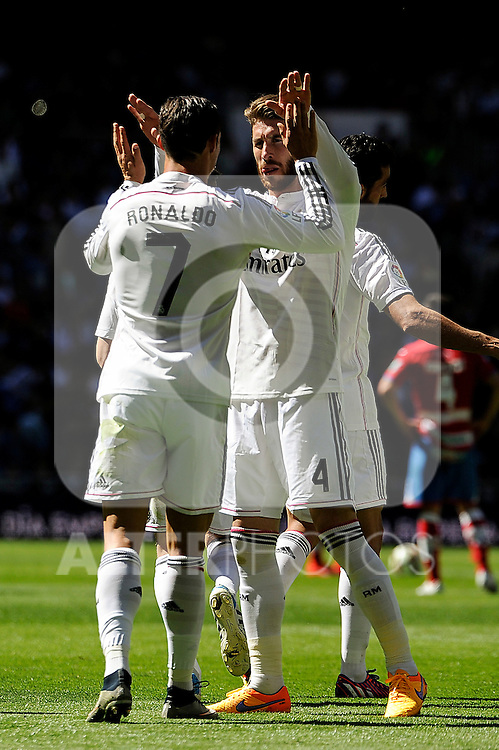 Real Madrid´s Cristiano Ronaldo and Sergio Ramos celebrates a goal during 2014-15 La Liga match between Real Madrid and Granada at Santiago Bernabeu stadium in Madrid, Spain. April 05, 2015. (ALTERPHOTOS/Luis Fernandez)