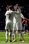 Real Madrid´s Cristiano Ronaldo and Sergio Ramos celebrates a goal during 2014-15 La Liga match between Real Madrid and Granada at Santiago Bernabeu stadium in Madrid, Spain. April 05, 2015. (ALTERPHOTOS/Luis Fernandez)