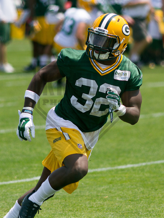 GREEN BAY - June 2015: Green Bay Packers safety Chris Banjo (32) during an Organized Team Activity on June 10th, 2015 at Clarke Hinkle Field in Green Bay, Wisconsin. (Brad Krause/Krause Sports Photography)