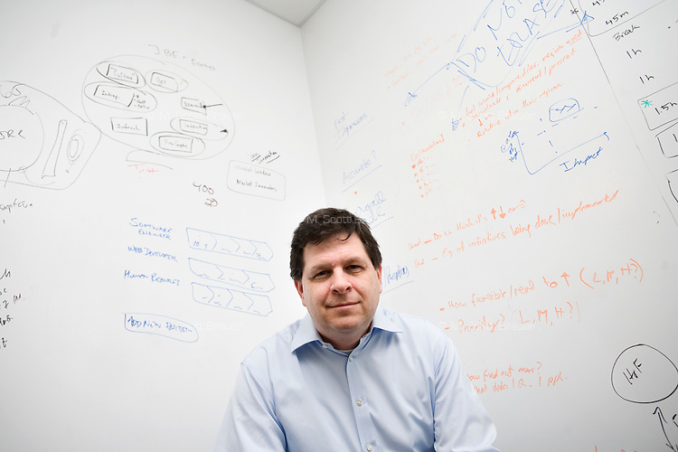 Dr. Scott Stern is the Sloan School of Management Distinguished Professor of Technological Innovation, Entrepreneurship and Strategic Management, photographed in the Martin (1958) Trust Center for MIT Entrepreneurship at MIT in Cambridge, Massachusetts, USA, on Feb. 7, 2012.
