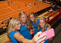 April 16, 2015, Netherlands, Den Bosch, Maaspoort, Fedcup Netherlands-Australia,  Official Dinner, Dutch Team makes a selfie, l.t.r.:  Micha&euml;lla Krajicek, Kiki Bertens, Arantxa Rus, Richel Hogenkamp, <br /> Photo: Tennisimages/Henk Koster