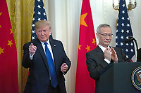 United States President Donald J. Trump gestures after Liu He, China's vice premier delivers remarks prior to the signing a trade agreement between the United States and China in the East Room of the White House in Washington D.C., U.S., on Wednesday, January 15, 2020.  <br /> <br /> Credit: Stefani Reynolds / CNP/AdMedia