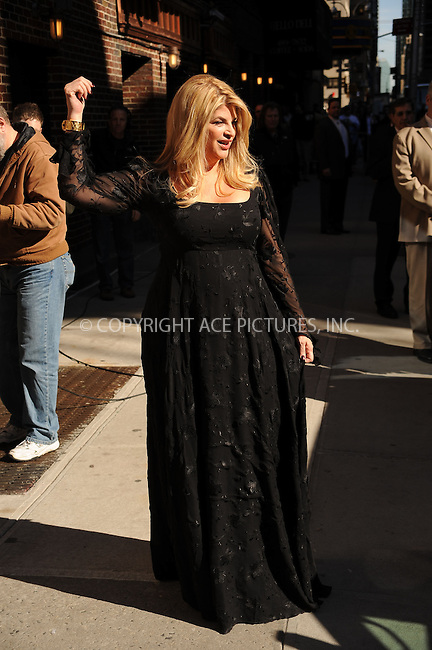 WWW.ACEPIXS.COM . . . . . ....March 16 2010, New York City....Actress Kirstie Alley made an appearance at the 'Late Show With David Letterman' at the Ed Sullivan Theater on March 16, 2010 in New York City. ....Please byline: KRISTIN CALLAHAN - ACEPIXS.COM.. . . . . . ..Ace Pictures, Inc:  ..(212) 243-8787 or (646) 679 0430..e-mail: picturedesk@acepixs.com..web: http://www.acepixs.com