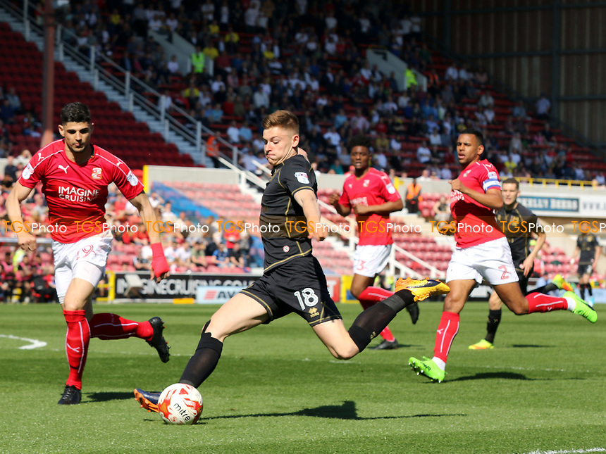 Harvey Barnes takes a shot at the Swindon goal during Swindon Town vs MK Dons, Sky Bet EFL League 1 Football at the County Ground on 8th April 2017