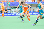 The Hague, Netherlands, June 14: Naomi van As #18 of The Netherlands looks to pass during the field hockey gold medal match (Women) between Australia and The Netherlands on June 14, 2014 during the World Cup 2014 at Kyocera Stadium in The Hague, Netherlands. Final score 2-0 (2-0)  (Photo by Dirk Markgraf / www.265-images.com) *** Local caption ***