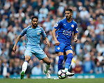 Gael Clichy of Manchester City in action with Riyad Mahrez of Leicester City during the English Premier League match at the Etihad Stadium, Manchester. Picture date: May 13th 2017. Pic credit should read: Simon Bellis/Sportimage