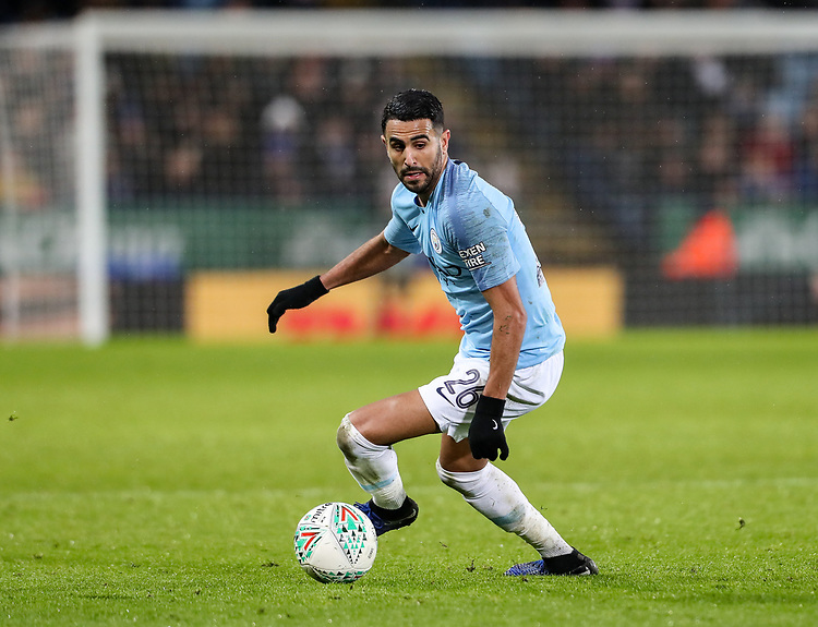 Manchester City 's Riyad Mahrez<br /> <br /> Photographer Andrew Kearns/CameraSport<br /> <br /> English League Cup - Carabao Cup Quarter Final - Leicester City v Manchester City - Tuesday 18th December 2018 - King Power Stadium - Leicester<br />  <br /> World Copyright © 2018 CameraSport. All rights reserved. 43 Linden Ave. Countesthorpe. Leicester. England. LE8 5PG - Tel: +44 (0) 116 277 4147 - admin@camerasport.com - www.camerasport.com