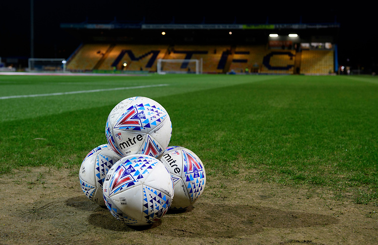 A close up of Mitre Delta official EFL match footballs<br /> <br /> Photographer Chris Vaughan/CameraSport<br /> <br /> The EFL Sky Bet League Two - Mansfield Town v Lincoln City - Monday 18th March 2019 - Field Mill - Mansfield<br /> <br /> World Copyright © 2019 CameraSport. All rights reserved. 43 Linden Ave. Countesthorpe. Leicester. England. LE8 5PG - Tel: +44 (0) 116 277 4147 - admin@camerasport.com - www.camerasport.com