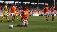 Blackpool's Nya Kirby reacts after a penalty is awarded for a foul on him by Fleetwood Town's James Husband <br /> <br /> Photographer Stephen White/CameraSport<br /> <br /> The EFL Sky Bet League One - Blackpool v Fleetwood Town - Monday 22nd April 2019 - Bloomfield Road - Blackpool<br /> <br /> World Copyright © 2019 CameraSport. All rights reserved. 43 Linden Ave. Countesthorpe. Leicester. England. LE8 5PG - Tel: +44 (0) 116 277 4147 - admin@camerasport.com - www.camerasport.com