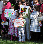 Washington, DC - April 15, 2008 -- Unidentified children hold signs in honor of Pope Benedict XVI during the arrival ceremony at the White House in Washington, D.C. on Wednesday, April 16, 2008.  .Credit: Ron Sachs / CNP.(RESTRICTION: NO New York or New Jersey Newspapers or newspapers within a 75 mile radius of New York City)
