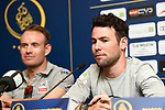 Mark Cavendish (GBR) Team Dimension Data and Alexander Kristoff (NOR) UAE Team Emirates at the top riders press conference for the Dubai Tour 2018 the Dubai Tour&rsquo;s 5th edition held at Dubai Frame in Zabeel Park, Dubai, United Arab Emirates. 5th February 2018.<br /> Picture: LaPresse/Massimo Paolone | Cyclefile<br /> <br /> <br /> All photos usage must carry mandatory copyright credit (&copy; Cyclefile | LaPresse/Massimo Paolone)