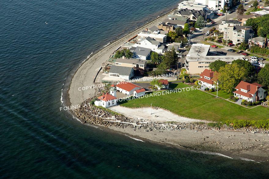 Alki Point Lighthouse on the West Seattle shoreline of Elliott Bay; Seattle, WA