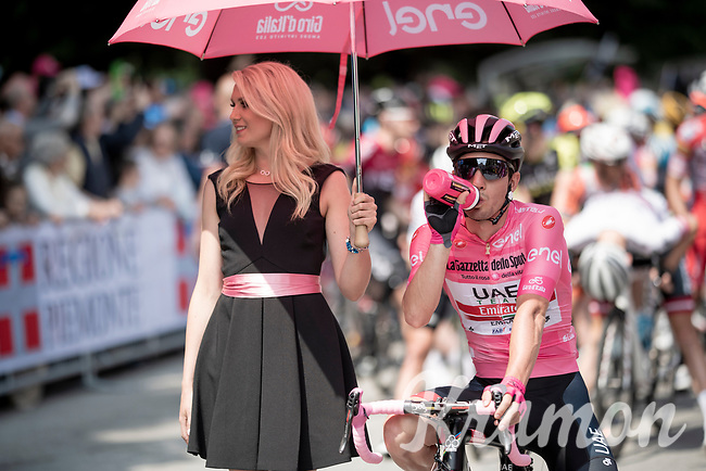 Maglia Rosa / overall leader Jan Polanc (SVK/UAE-Emirates) at the race start line in Pinerelo<br /> <br /> Stage 13: Pinerolo to Ceresole Reale/Lago Serrù (196km)<br /> 102nd Giro d'Italia 2019<br /> <br /> ©kramon