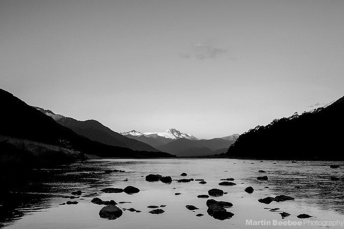 Mount McCullaugh and the Haast River, Mount Aspiring National Park, New Zealand