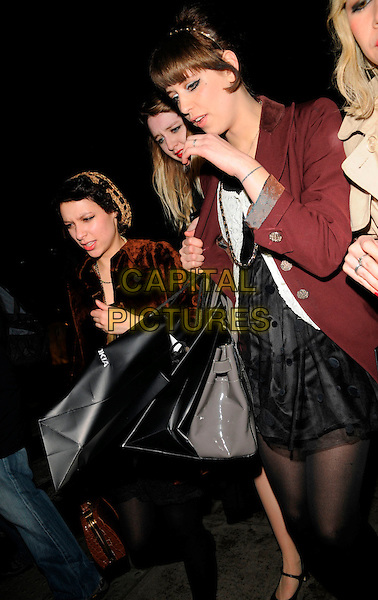PEACHES GELDOF.Nokia & PPQ Launch Party at PPQ Boutique, Conduit Street, London, England, January 29th 2008..half length red maroon coat bags fringe.CAP/CAN.©Can Nguyen/Capital Pictures