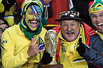 15 JUN 2010:  Brazil fans in the stands with World Cup trophy.  The Brazil National Team played the North Korea National Team at Ellis Park Stadium in Johannesburg, South Africa in a 2010 FIFA World Cup Group G match.