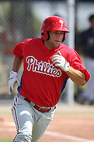 Philadelphia Phillies minor league outfielder Cody Overbeck vs. the Detroit Tigers during an Instructional League game at Tiger Town in Lakeland, Florida;  October 12, 2010.  Photo By Mike Janes/Four Seam Images