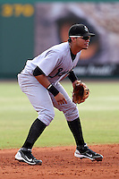 Jupiter Hammerheads shortstop Jose Torres #4 during a game against the Bradenton Marauders at McKechnie Field on June 22, 2011 in Bradenton, Florida.  Bradenton defeated Jupiter 5-4.  (Mike Janes/Four Seam Images)