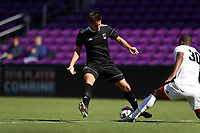 Orlando, Florida - Monday January 15, 2018: Matias Pyysalo is stripped of the ball by Andre Morrison. Match Day 2 of the 2018 adidas MLS Player Combine was held Orlando City Stadium.
