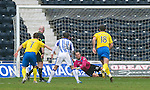 Kilmarnock v St Johnstone....03.03.12   SPL.Alan Mannus saves from Dean Sheilds penalty.Picture by Graeme Hart..Copyright Perthshire Picture Agency.Tel: 01738 623350  Mobile: 07990 594431
