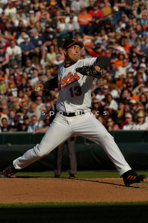 Rodrigo Lopez during the Baltimore Orioles v. New York Yankees game on April 16, 2005...Orioles win 7-6..David Durochik / SportPics