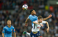 Newcastle's Jamaal Lascelles  and Tottenham's Ben Davies during the EPL - Premier League match between Tottenham Hotspur and Newcastle United at Wembley Stadium, London, England on 9 May 2018. Photo by Andrew Aleksiejczuk / PRiME Media Images.