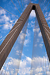 Arthur Ravenel Jr Bridge over the cooper river in Charleston South Carolina with light clouds above
