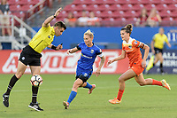 Frisco, TX - Sunday September 03, 2017: Rosendo Mendoza, Jess Fishlock, and Cari Roccaro during a regular season National Women's Soccer League (NWSL) match between the Houston Dash and the Seattle Reign FC at Toyota Stadium in Frisco Texas. The match was moved to Toyota Stadium in Frisco Texas due to Hurricane Harvey hitting Houston Texas.