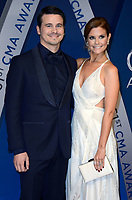 NASHVILLE, TN - NOVEMBER 8:  Jason Ritter and JoAnna Garcia Swisher arrive at the 51st Annual CMA Awards at the Bridgestone Arena on November 8, 2017 in Nashville, Tennessee. (Photo by Tonya Wise/PictureGroup)