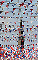 30/05/2012 ..St Oswald's church is almost completely obscured by the bunting...The small market town of Ashbourne, on the edge of The Peak District in Derbyshire, has hung a staggering eight miles of red, white and blue bunting across its Georgian streets ahead of this weekend's Jubilee celebrations......All Rights Reserved - F Stop Press.  www.fstoppress.com. Tel: +44 (0)1335 300098.Copyrighted Image. Fees charged will reflect previously agreed terms or space rates for individual publications, states or country.