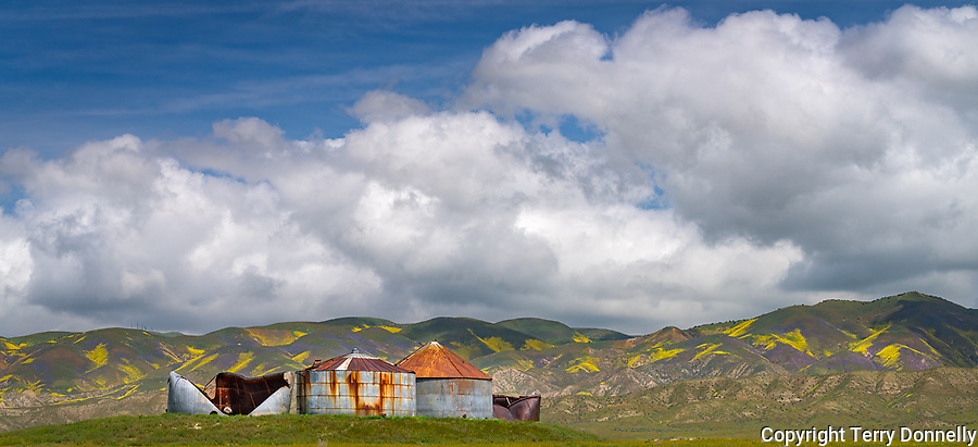 Carrizo Plain National Monument, California:<br /> Rusting grain silos and the Temblor Range