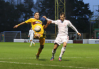 Keith Lasley tries to intercept before Niall McGinn in the Motherwell v Aberdeen, Clydesdale Bank Scottish Premier League match at Fir Park, Motherwell on 26.12.12.