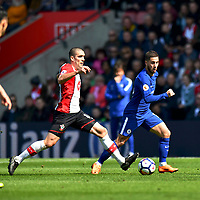 Southampton's Oriol Romeu (left) battles with Chelsea's Eden Hazard (right) <br /> <br /> Photographer David Horton/CameraSport<br /> <br /> The Premier League - Southampton v Chelsea - Saturday 14th April2018 - St Mary's Stadium - Southampton<br /> <br /> World Copyright &copy; 2018 CameraSport. All rights reserved. 43 Linden Ave. Countesthorpe. Leicester. England. LE8 5PG - Tel: +44 (0) 116 277 4147 - admin@camerasport.com - www.camerasport.com