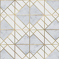 Nico, a stone waterjet mosaic, shown in polished Carrara and Dolomite with Brass.
