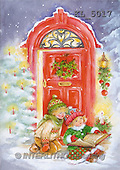 Interlitho, Emilia, CHRISTMAS CHILDREN, paintings, 2 kids, red door(KL5017,#XK#)