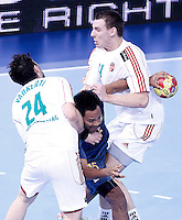 Australia's Daniel Kelly (c) and Hungary's Attila Vadkerti (l) and Barna Putics during 23rd Men's Handball World Championship preliminary round match.January 14,2013. (ALTERPHOTOS/Acero) /NortePhoto