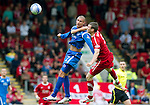 St Johnstone v Aberdeen...21.08.10  .Marcus Haber in aerial battle with Zander Diamond.Picture by Graeme Hart..Copyright Perthshire Picture Agency.Tel: 01738 623350  Mobile: 07990 594431