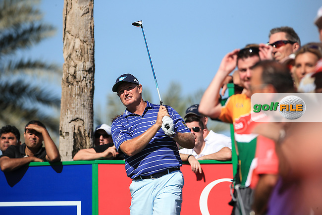Ernie Els (RSA) falls away with a round of 74 during Round Three of the 2016 Omega Dubai Desert Classic, played on the Emirates Golf Club, Dubai, United Arab Emirates.  06/02/2016. Picture: Golffile | David Lloyd<br /> <br /> All photos usage must carry mandatory copyright credit (&copy; Golffile | David Lloyd)