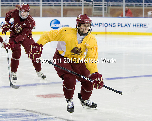 Chris Kreider (BC - 19) - The Boston College Eagles practiced at Ford Field on Friday, April 9, 2010, during the 2010 Frozen Four in Detroit, Michigan.