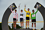 L-R Polka Dot Jersey Warren Barguil (FRA) Team Sunweb, White Jersey Simon Yates (GBR) Orica-Scott, Yellow Jersey Chris Froome (GBR) Team Sky and Green Jersey Michael Matthews (AUS) on the final podium at the end of Stage 21 of the 104th edition of the Tour de France 2017, an individual time trial running 1.3km from Montgeron to Paris Champs-Elysees, France. 23rd July 2017.<br /> Picture: ASO/Pauline Ballet | Cyclefile<br /> <br /> <br /> All photos usage must carry mandatory copyright credit (&copy; Cyclefile | ASO/Pauline Ballet)