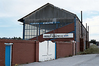 The main stand at Frickley Athletic FC Football Ground, Westfield Lane, South Elmsall, West Yorkshire, pictured on 15th July 1991