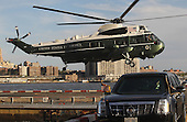 Marine One, carrying United States President Barack Obama, lands in Lower Manhattan on September 19, 2011 in New York City. President Obama is visiting New York where he will address the United Nations General Assembly and meet with world leaders. .Credit: Mario Tama / Pool via CNP
