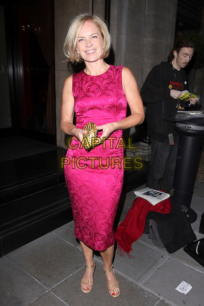 MARIELLA FROSTRUP.At the Sony Radio Academy Awards, Grosvenor House Hotel, Park Lane, London, England, UK, May 10th 2010..full length pink sleeveless silk satin brocade patterned pattern dress shift gold clutch bag ankle strap open toe sandals .CAP/AH.©Adam Houghton/Capital Pictures.