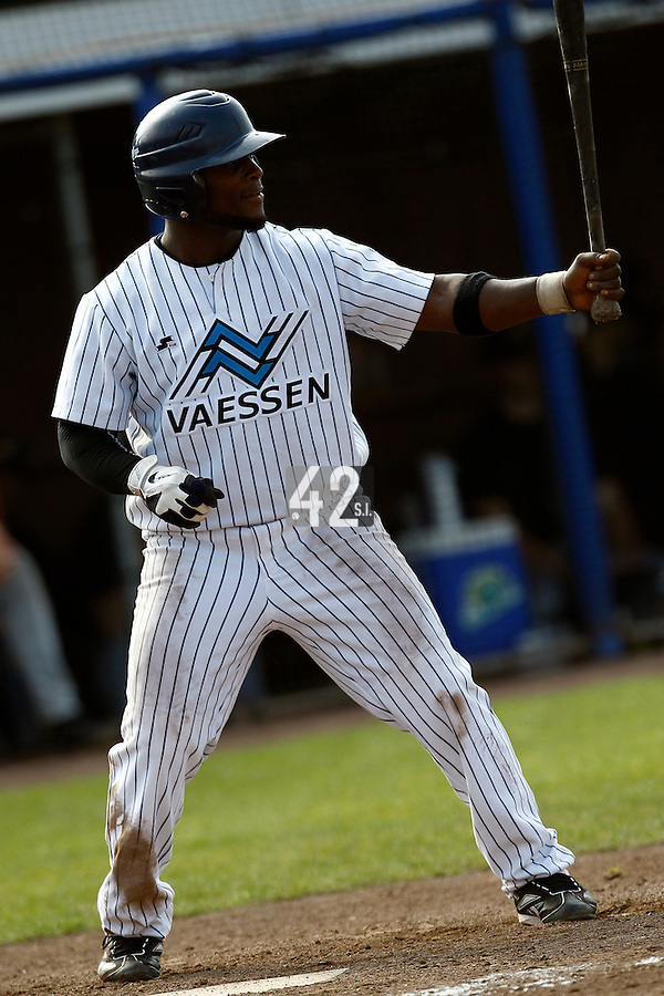 03 September 2011: Mervin Gario of the Vaessen Pioniers is seen at bat during game 1 of the 2011 Holland Series won 5-4 in inning number 14 by L&D Amsterdam Pirates over Vaessen Pioniers, in Hoofddorp, Netherlands.