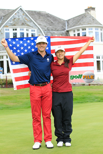 Marcus Kinhult &amp; Andrea Lee (USA) on the 18th hole in the Mixed Fourballs during the 2014 JUNIOR RYDER CUP at the Blairgowrie Golf Club, Perthshire, Scotland. <br /> Picture:  Thos Caffrey / www.golffile.ie