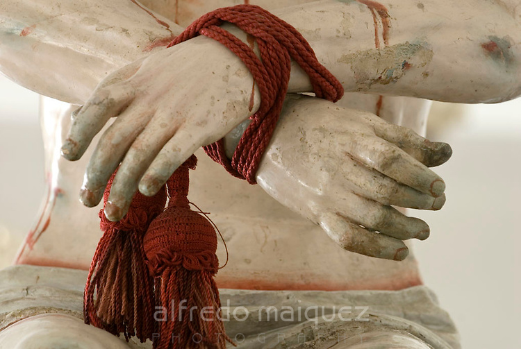 Hands detail, Jesus Christ life size figure for Holy week processions, San Francisco Church museum  (1536), Old quarter / Quito,Ecuador,South America 2007